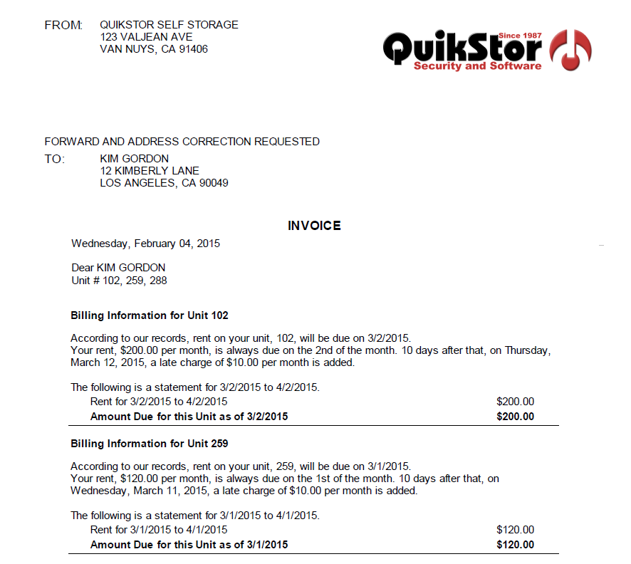 Self Storage Invoice QuikStor Management System