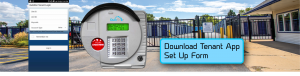self storage access control keypad in front of security gate