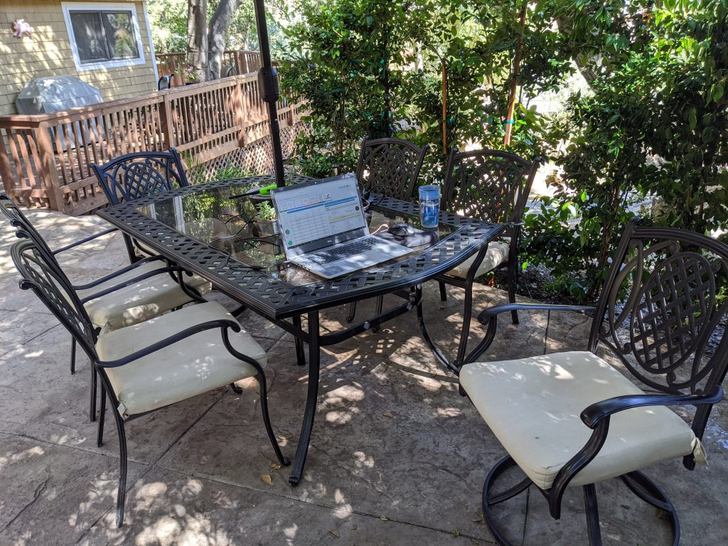 quikstor work from home wfh remote work office on patio