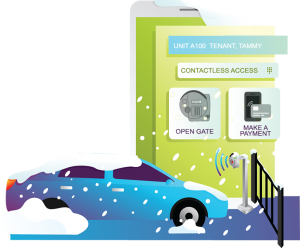 quikstor infinity keypads are app-enabled so tenants can open the gate without getting out of their car